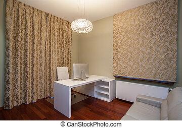travertine, escritório, casa, -, luxuoso, lar