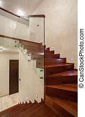 travertine, haus, -, treppenaufgang