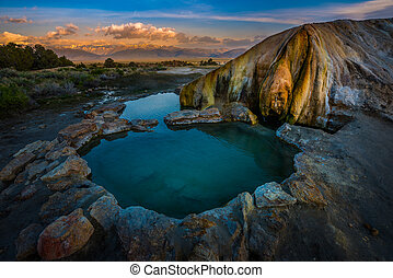 Travertine Hot Springs wit Sunrise over the Sierras