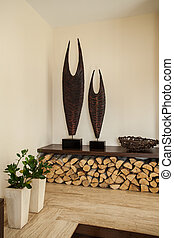 Travertine house: Decoration in living room