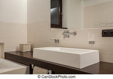 Travertine house - elegant washbasin