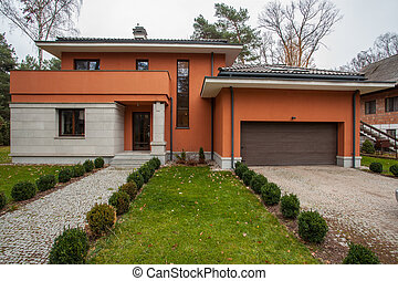 Travertine house - facade of modern house, horizontal view