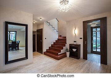 Travertine house: hallway - Travertine house: interior with...