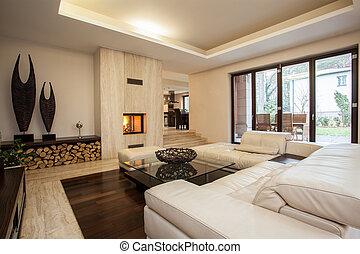 Travertine house: living room