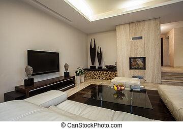 Travertine house: Spacious living room in horizontal view