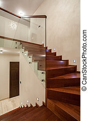 Travertine house - Staircase - Travertine house - Wooden...