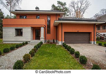 travertine, hus, -, fasad