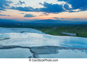 Travertine terrace Pamukkale Denizli Province Turkey
