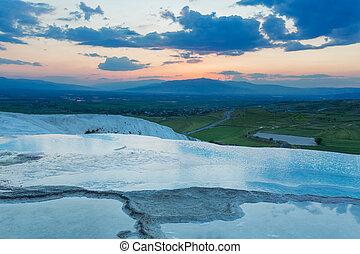 Travertine terrace Pamukkale Denizli Province Turkey