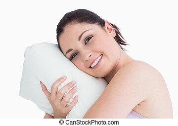 travesseiro, mulher, cima, dela, despertar