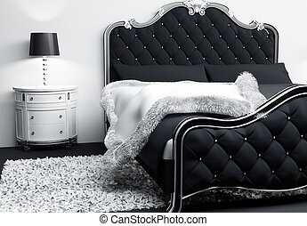 travesseiros, cobertura, modernos, cama, luxuoso, interior...