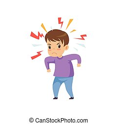 travieso, ilustración, malo, vector, niño, comportamiento, niño, agresivo
