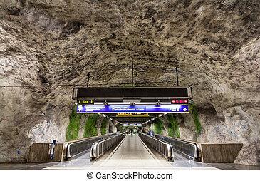 Travolators in Fridhemsplan metro station, Stockholm, Sweden