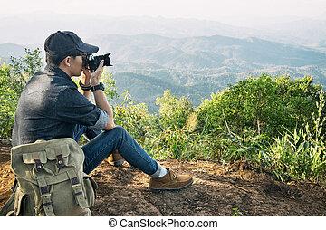 travrler, 山, 素晴らしい, 屋外, 若い, カメラ, 専門家, 射撃, 風景, 人