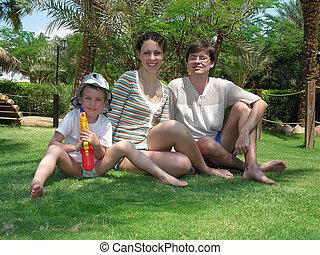 trawa, dłoń, rodzina