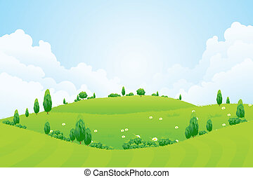 trawa, górki, drzewa, zielone tło, kwiaty