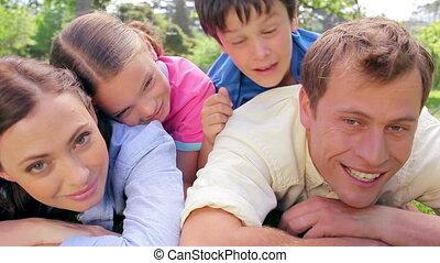 trawa, leżący, razem, rodzina