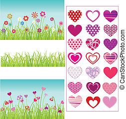 trawa, serca, komplet, kwiaty