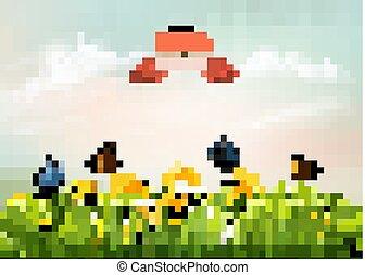 trawa, vector., natura, wiosna, tło, butterflies., kwiaty