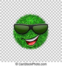 trawiasty, uśmiechanie się, tło., ekologia, odizolowany, pole, uśmiech, biały, natura, poznaczcie., szczęśliwy, emoticon, spring., symbol, smiley, ilustracja, sunglasses., 3d., przeźroczysty, ikona, twarz, mrugnięcie, wektor, zielony, świeży, trawa