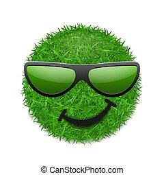 trawiasty, uśmiechanie się, tło., ekologia, odizolowany, pole, uśmiech, biały, natura, poznaczcie., szczęśliwy, emoticon, smiley, spring., symbol, sejf, ilustracja, sunglasses., 3d., ikona, twarz, mrugnięcie, wektor, zielony, świeży, trawa