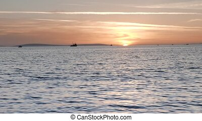 Trawler and Boats Fishing at Sunset. 4k - Trawler and...