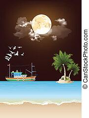 Trawler boat fishing at night