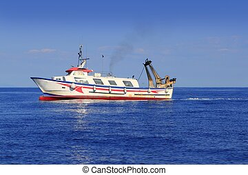 trawler boat working in mediterranean offshore - trawler...