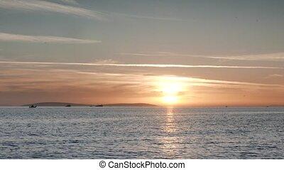 Trawler Fishing at Sunset. 4k - Trawler and Boats Fishing at...