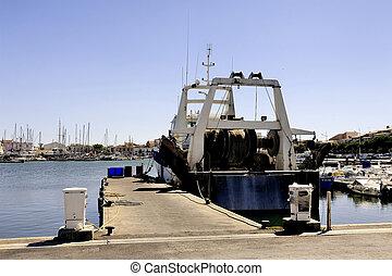 trawler, grau-du-roi, le, docked, havn