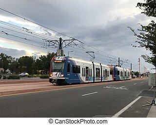 TRAX in downtown Salt Lake City, Utah