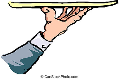 Tray in waiter hand, vector illustration