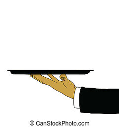 tray in waiter hand, vector illustration