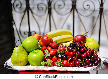 tray of assorted delicious fresh fruit