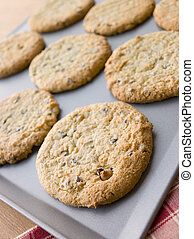 Tray of Chocolate Chip and Hazelnut Cookies