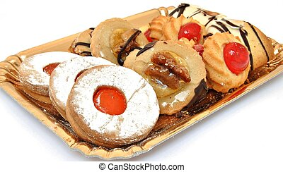 Tray of cookies with different flavors surrounded by white