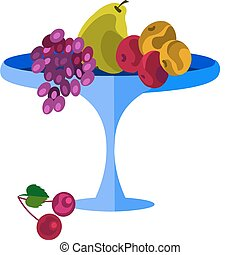 tray of healty fruits: grapes, pear and apple