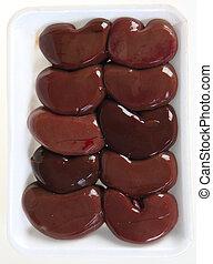Tray of lamb's kidneys - A polystyrene supermarket tray of ...