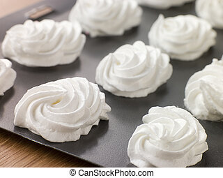 Tray of piped Meringues