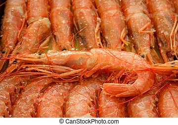 Tray of shrimp doused in sauce