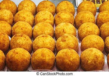 Tray of sicilian arancini - A tray full of sicilian arancini...
