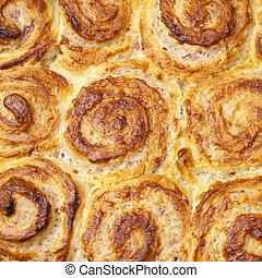 Tray of strawberry quark rolls food background