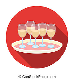 Tray with champagne glasses icon in flat style isolated on...