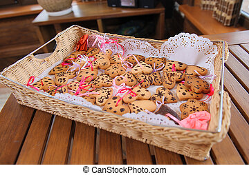 tray with cookies in form of heart