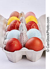 Tray with Easter eggs isolated.