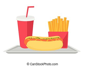 Tray with fast food vector cartoon illustration.
