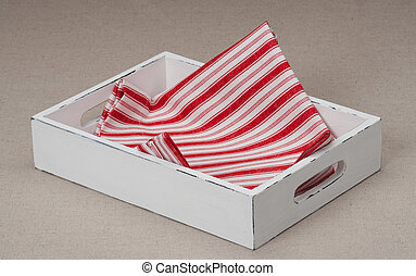 Tray With Folded Napkin On Natural Linen Background