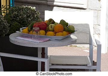tray with fresh fruit for breakfast