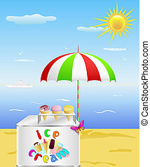 Tray with ice cream is on the beach.