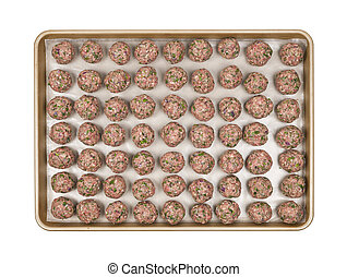 Tray with meatballs